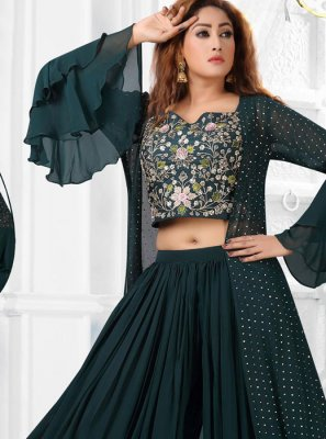Art Silk Green Stone Work Salwar Kameez