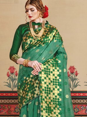Art Silk Green Traditional Designer Saree