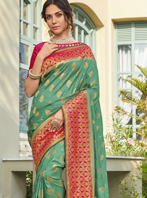 Art Silk Green Weaving Classic Saree