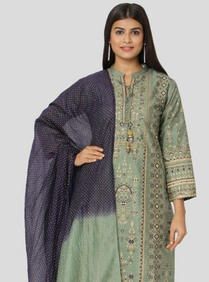 Art Silk Green Zari Salwar Suit