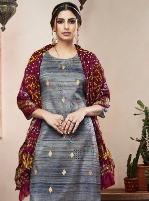 Art Silk Grey Anarkali Salwar Suit