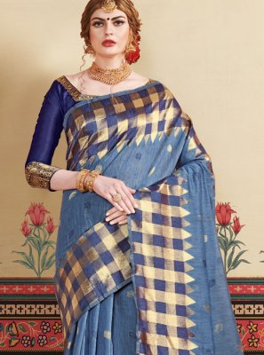 Art Silk Grey Casual Saree