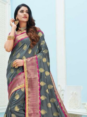 Art Silk Grey Contemporary Saree