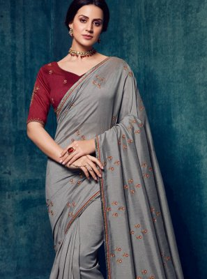 Art Silk Grey Designer Traditional Saree