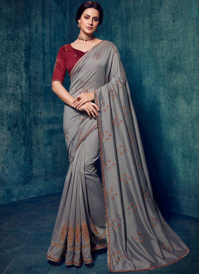 Art Silk Grey Designer Traditional Saree