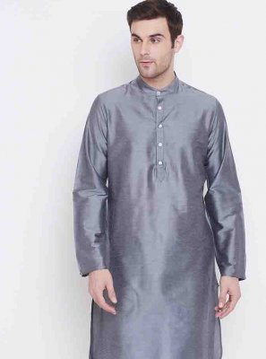 Art Silk Grey Kurta Pyjama