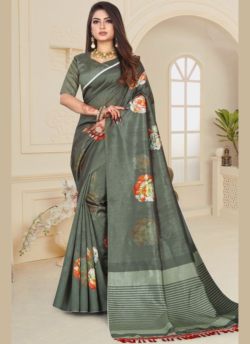 Art Silk Grey Printed Saree