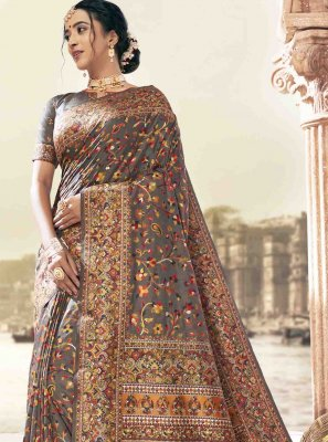 Art Silk Grey Printed Saree