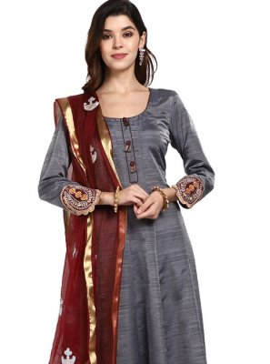 Art Silk Grey Thread Designer Pakistani Suit