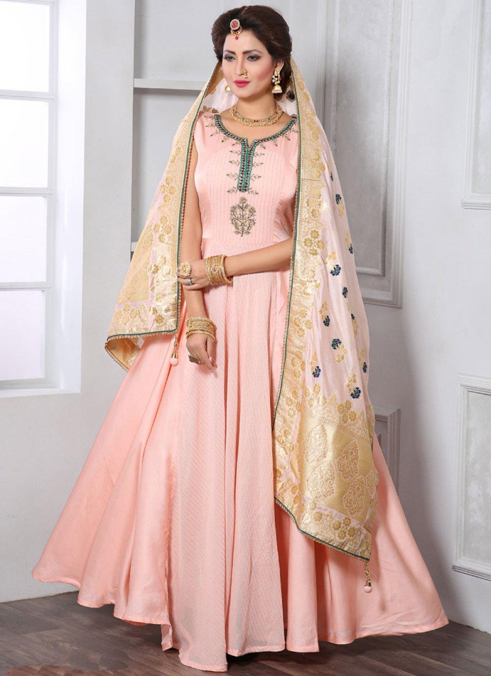 Art Silk Handwork Peach Designer Gown