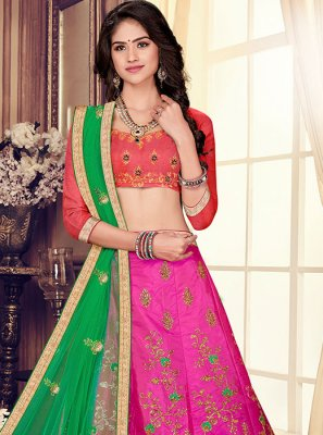 Art Silk Hot Pink Trendy Designer Lehenga Choli