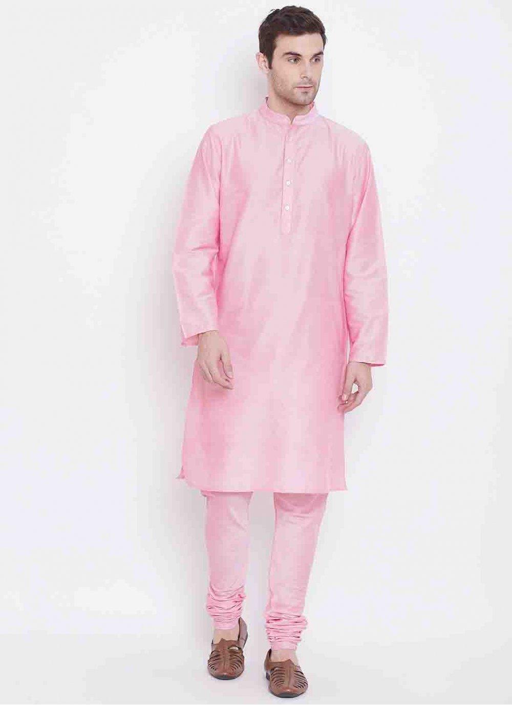 Art Silk Kurta Pyjama in Pink