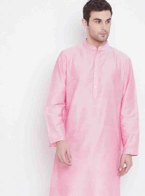 Art Silk Kurta Pyjama in Pink