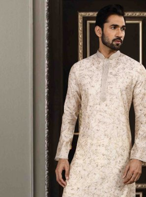 Art Silk Kurta Pyjama in White