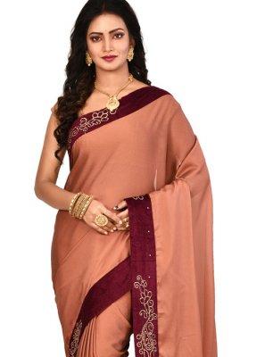 Art Silk Lace Designer Saree in Brown