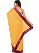 Art Silk Lace Designer Saree in Yellow