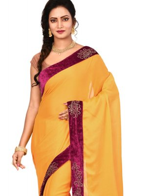 Art Silk Lace Designer Saree in Yellow