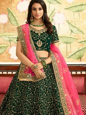 Art Silk Lehenga Choli in Green