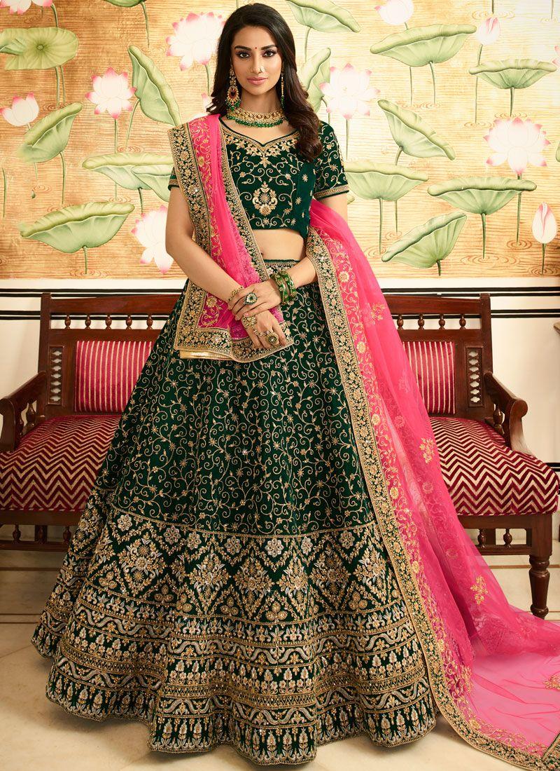 Art Silk Lehenga Choli in Green