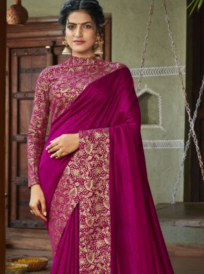 Art Silk Magenta Designer Saree