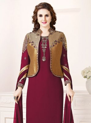 Art Silk Magenta Embroidered Churidar Salwar Suit
