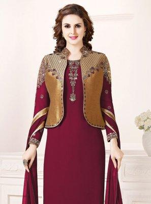 Art Silk Magenta Embroidered Churidar Salwar Suit