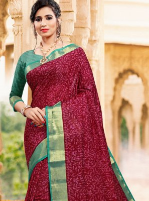 Art Silk Magenta Printed Casual Saree