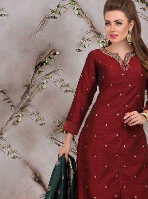 Art Silk Maroon Designer Palazzo Salwar Suit
