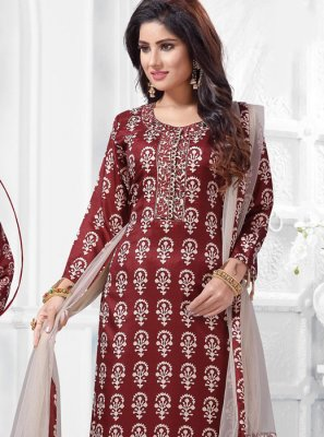 Art Silk Maroon Embroidered Salwar Suit