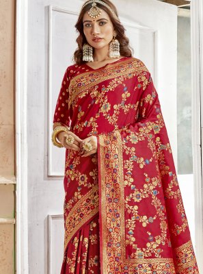 Art Silk Maroon Weaving Saree