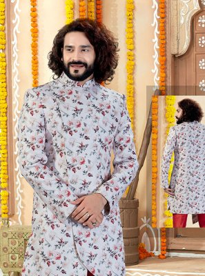 Art Silk Multi Colour and Off White Sherwani