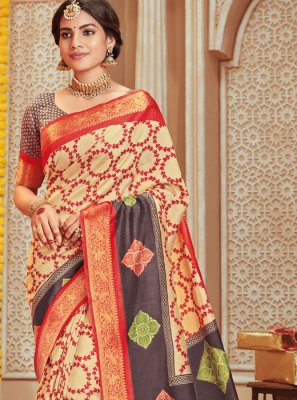 Art Silk Multi Colour Designer Traditional Saree