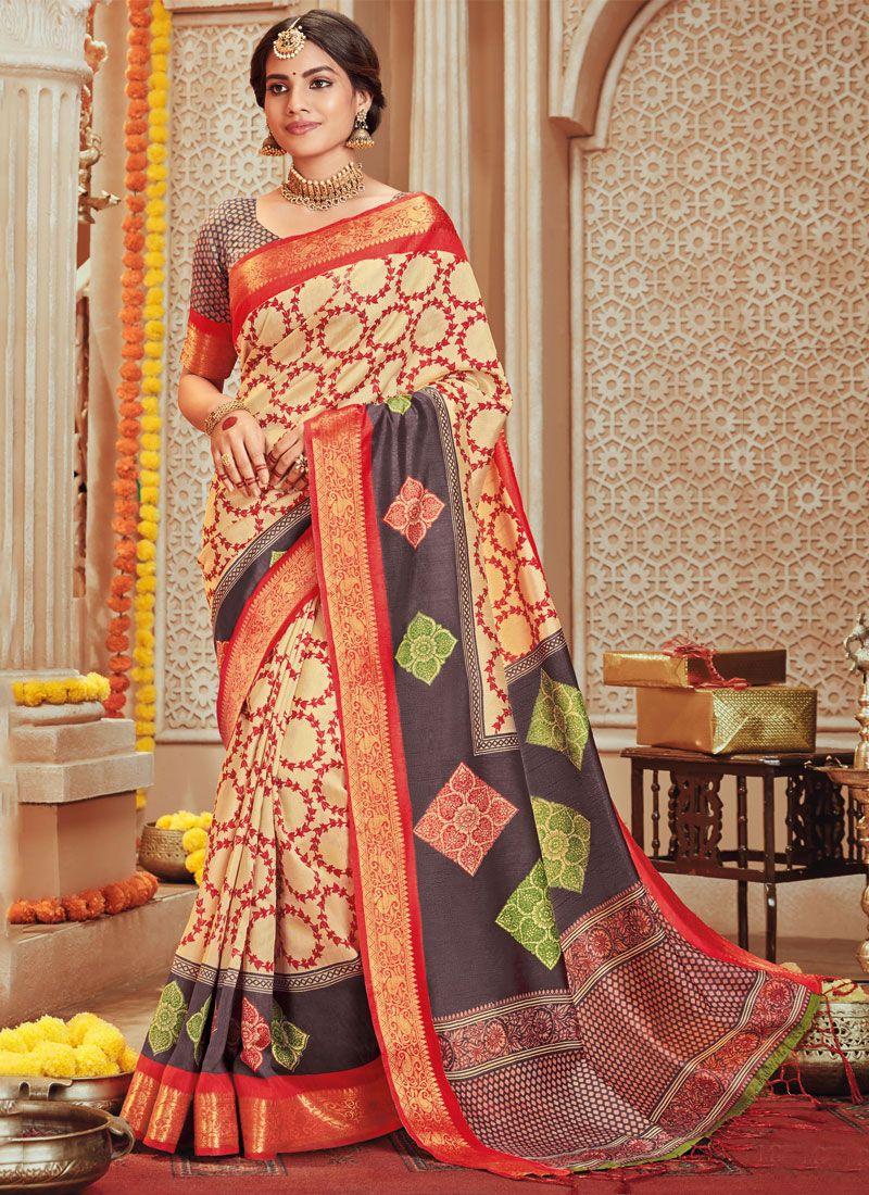 Art Silk Multi Colour Designer Traditional Saree