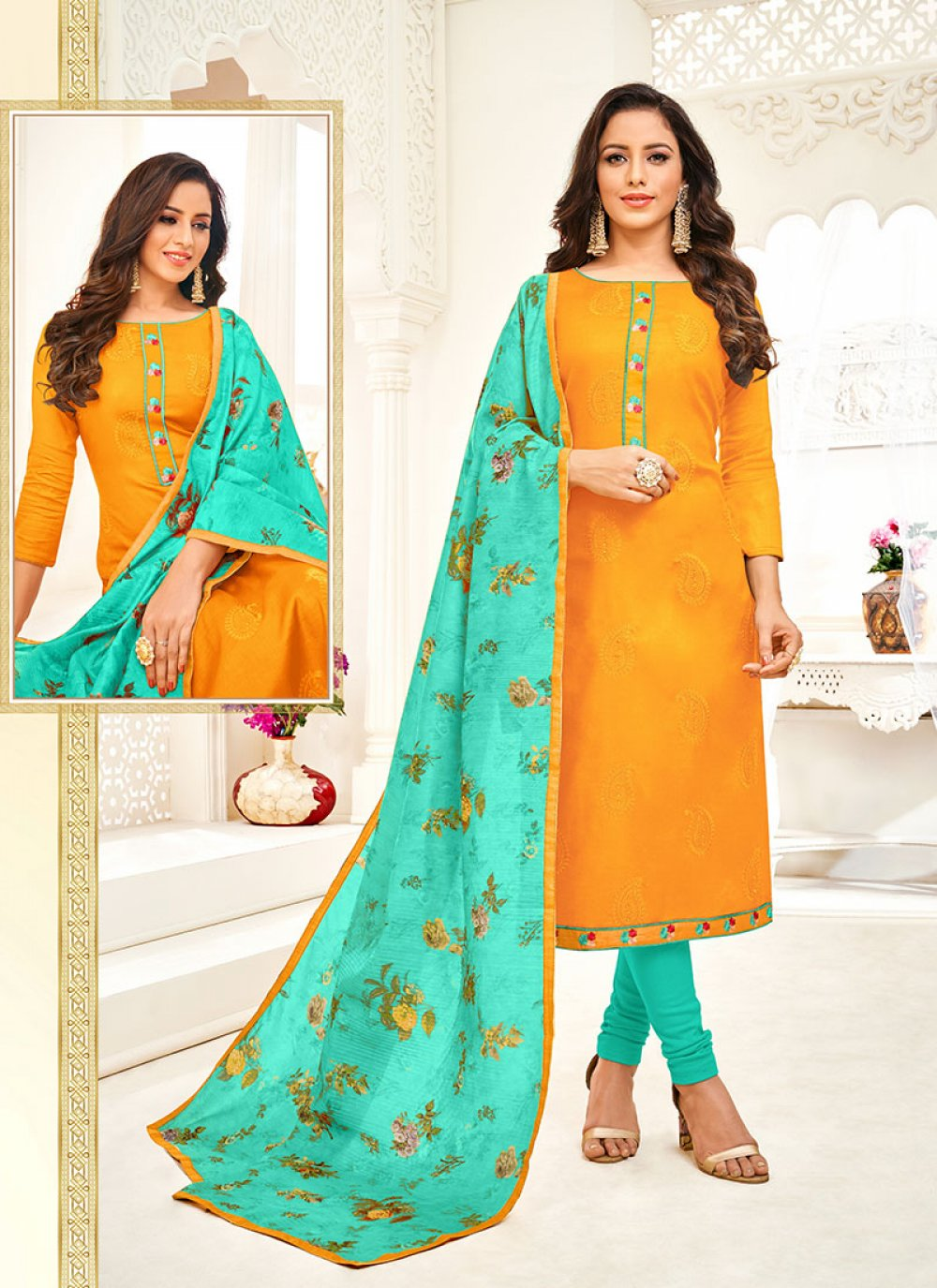 Art Silk Mustard Churidar Suit