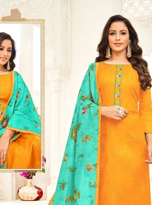 Art Silk Mustard Churidar Suit