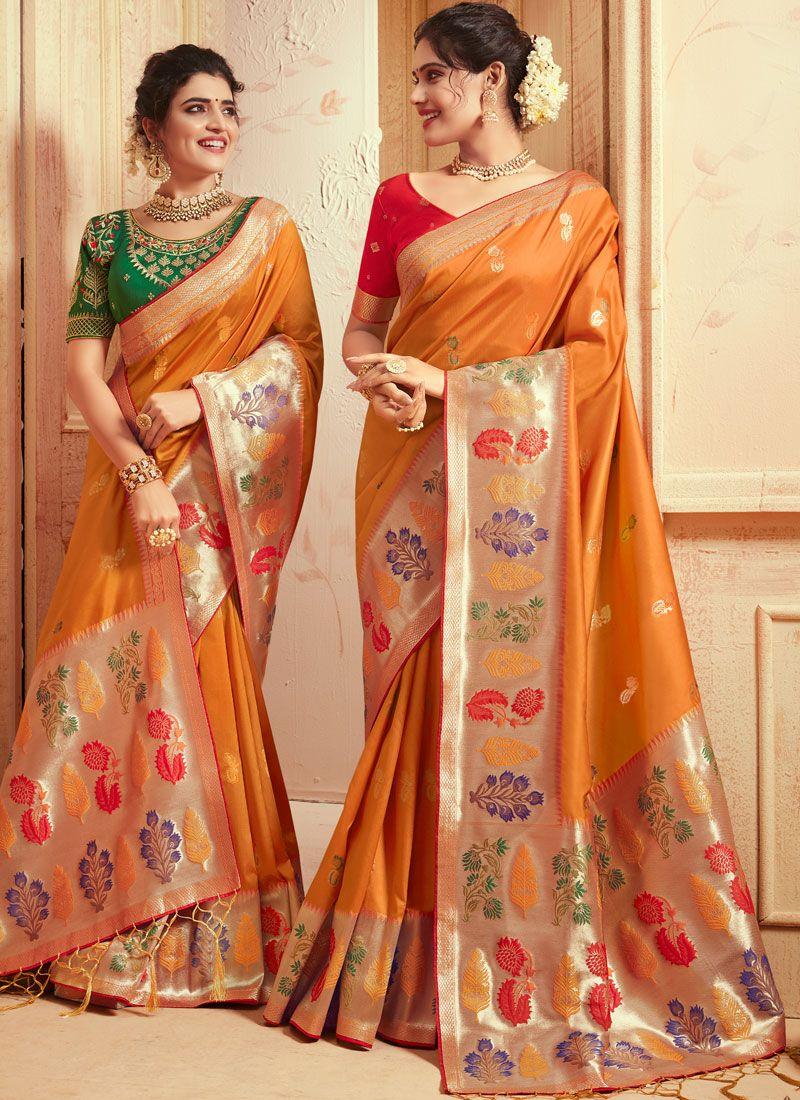 Art Silk Mustard Designer Traditional Saree