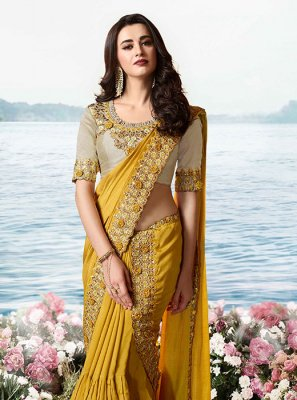 Art Silk Mustard Designer Traditional Saree