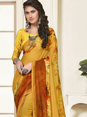 Art Silk Mustard Printed Saree