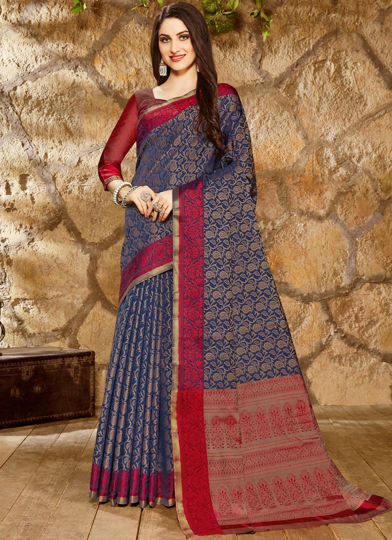 Art Silk Navy Blue Classic Saree