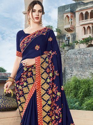 Art Silk Navy Blue Designer Traditional Saree