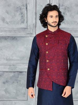 Art Silk Navy Blue Kurta Payjama With Jacket