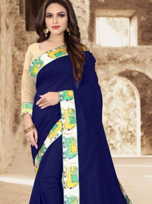 Art Silk Navy Blue Lace Designer Saree