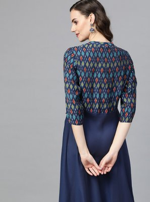 Art Silk Navy Blue Party Wear Kurti