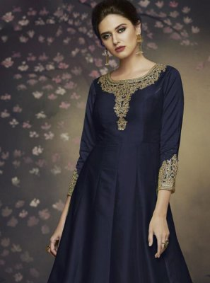 Art Silk Navy Blue Salwar Suit