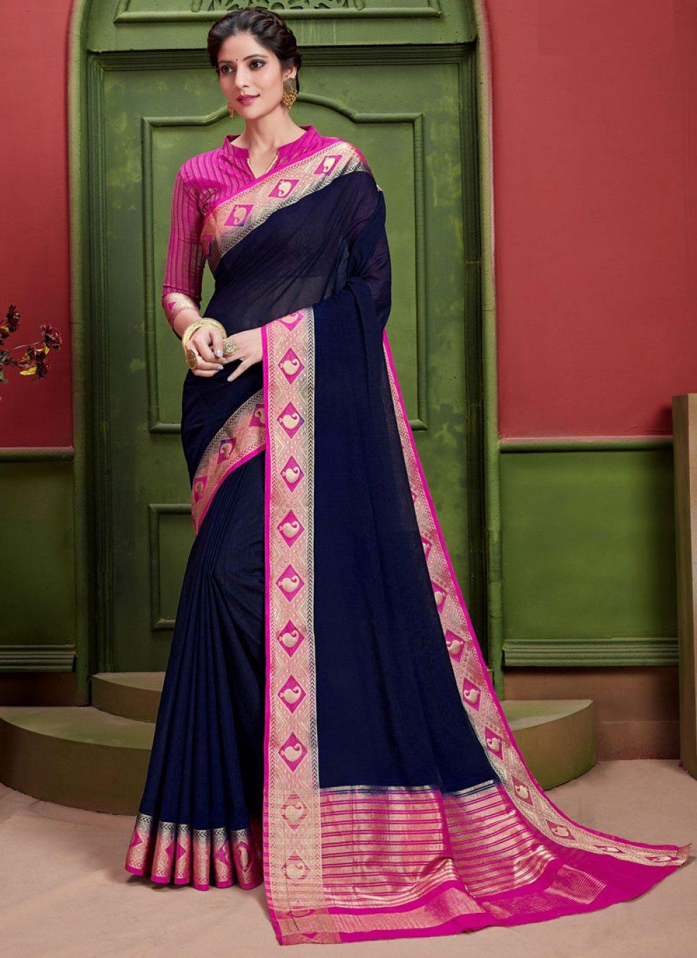 Art Silk Navy Blue Weaving Classic Saree