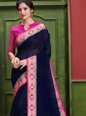 Art Silk Navy Blue Weaving Classic Saree