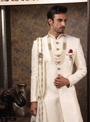 Art Silk Off White Indo Western Sherwani