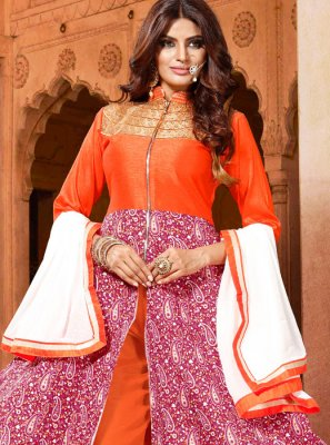 Art Silk Orange and Pink Embroidered Salwar Kameez