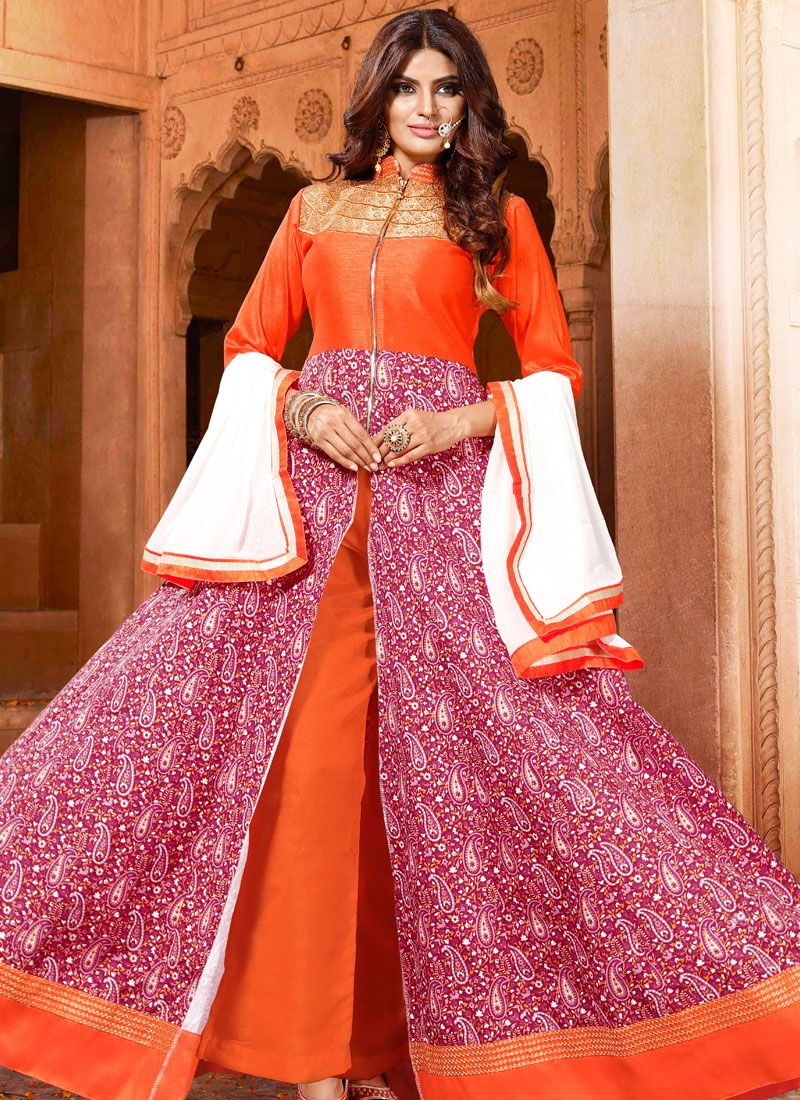 Art Silk Orange and Pink Embroidered Salwar Kameez