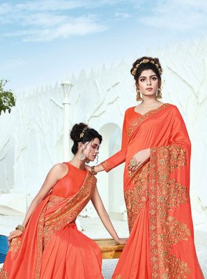 Art Silk Orange Classic Designer Saree